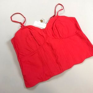 Anthropologie Cropped Blouse in Coral